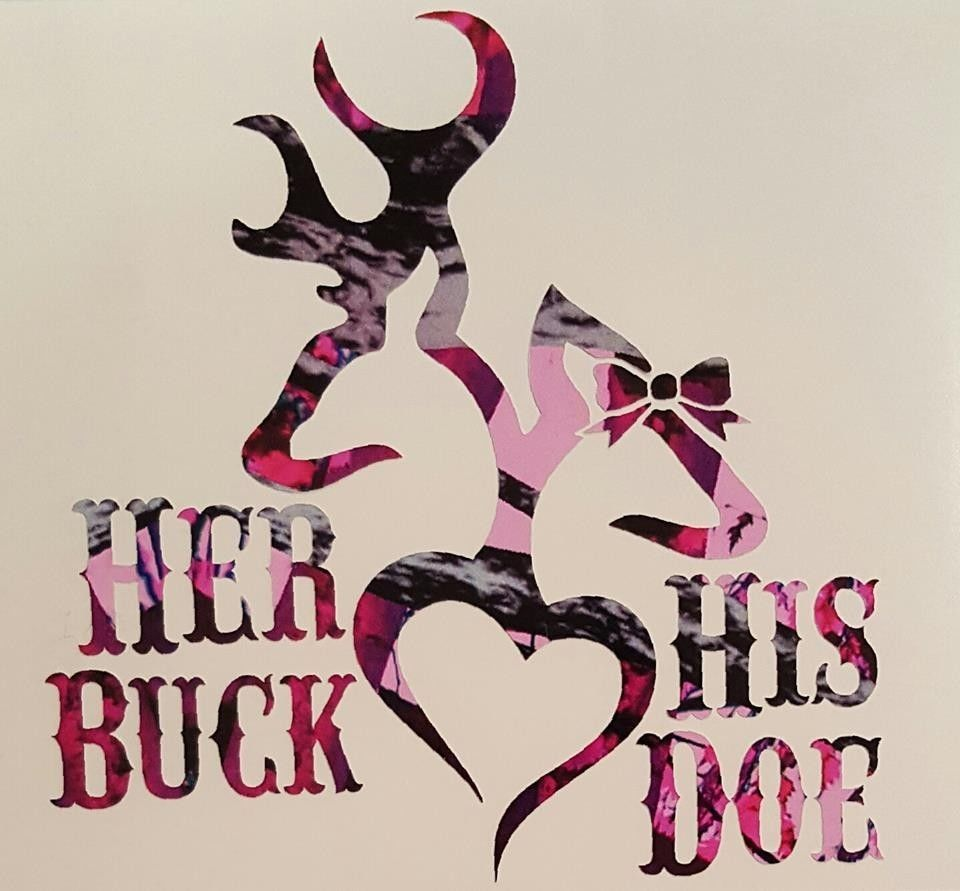 Her Buck His Doe Heart Deer Vinyl Decal Bow Browning Outdoor - Browning vinyl decals