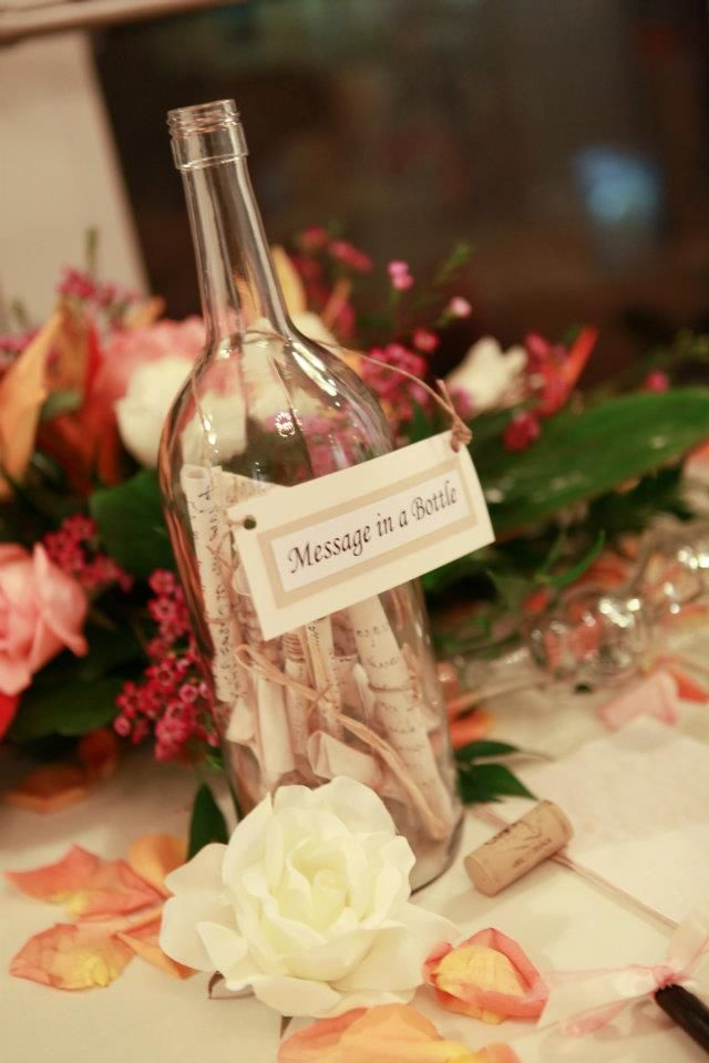 Message in a bottle guest book idea wedding memories pinterest mariages livre et - Message boulette mariage ...