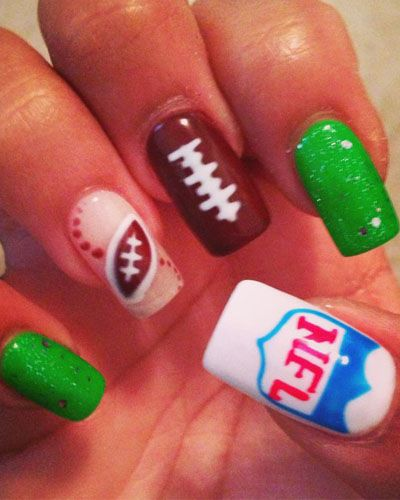 Football Nail Art Imagine Changing The Nfl Logo For Your Favorite Team S