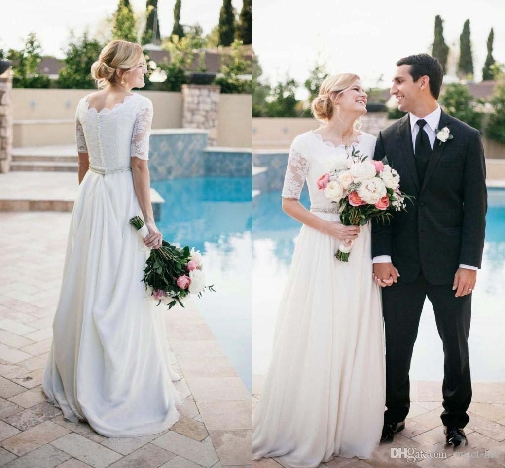beach boho a line wedding dresses vestidos de novia white half