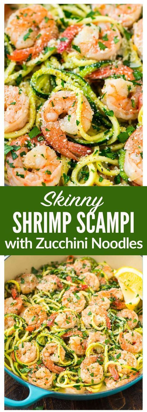 Shrimp Scampi with Zucchini Noodles. Easy, low carb version of the classic pasta dish that can be made without wine. Recipe at  | @wellplated
