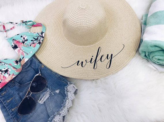 Wifey beach floppy hat. bridal shower by keeplifesimpledesign ... 4c050654f5a