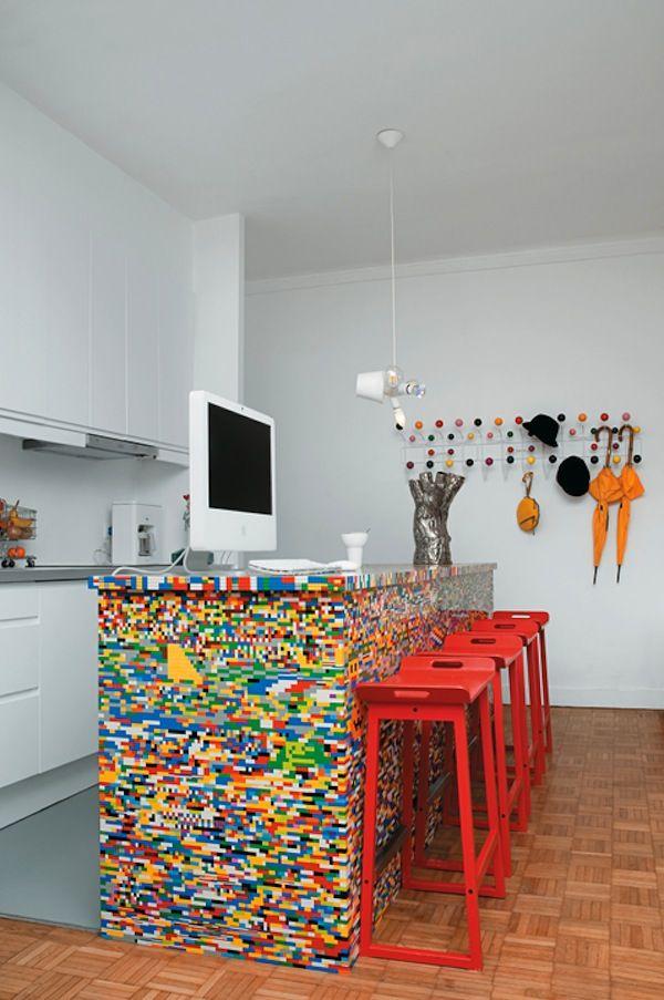 Whoa! A kitchen island made of 20,000 Legos! Plus more (usually smaller) Lego decor ideas -- via homejelly.