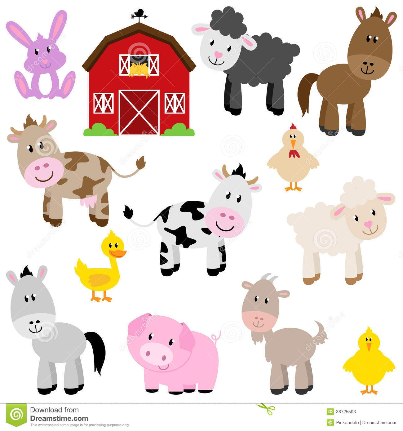 Vector Collection Of Cute Cartoon Farm Animals Download From Over 57 Million High Quality Stock Photos Images Animal Clipart Barnyard Animals Farm Animals