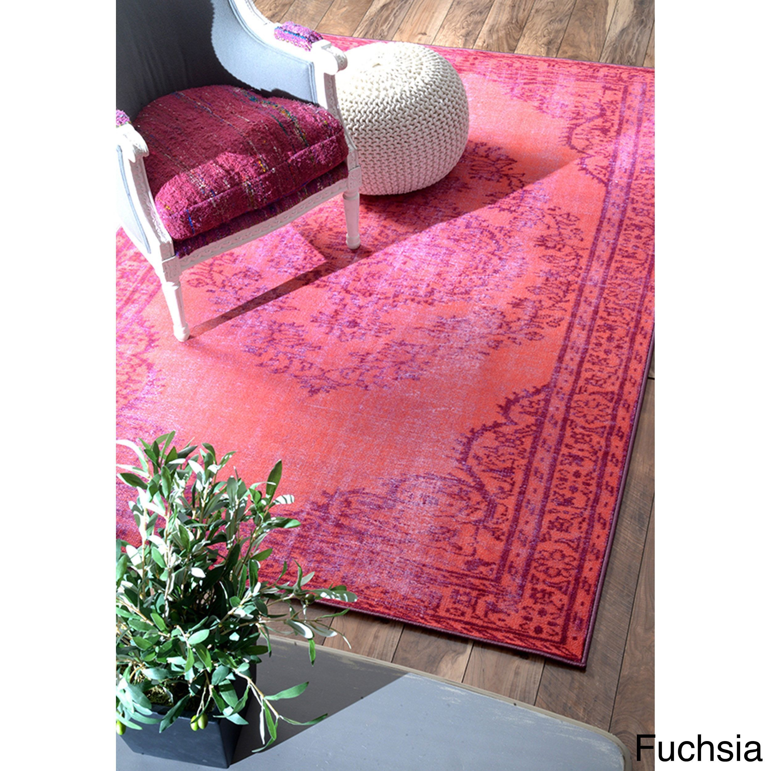 Nuloom Vintage Inspired Overdyed Rug 8 X 10 Fuschia Pink Size Synthetic Fiber Oriental
