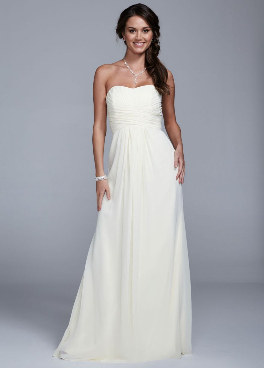 Strapless long chiffon dress with ruched bodice davids bridal strapless long chiffon dress with ruched bodice davids bridal debut dressessweet wedding ombrellifo Image collections