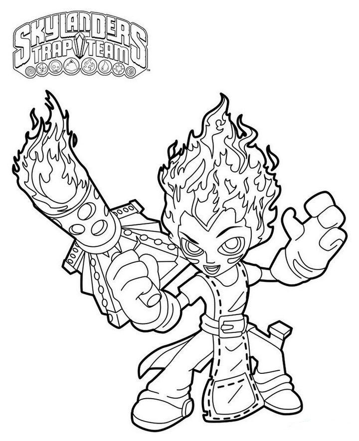 Torch From Skylanders Trap Team Coloring Pages | Nickelodeon ...