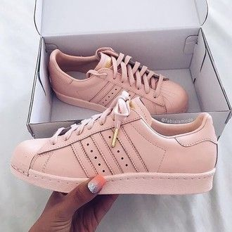 Shoes Adidas Superstars Addidas Shoes Gold And Rose Adidas Pink