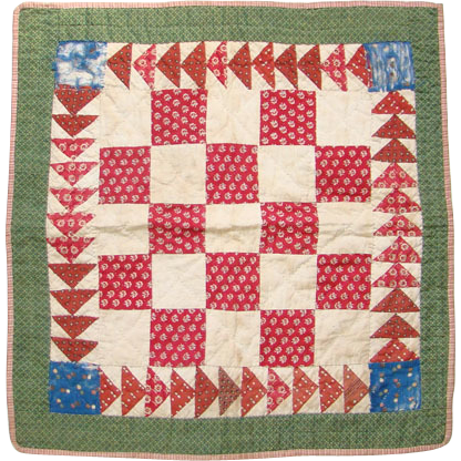 Antique Mid 1800s Red Green Calico One Patch Doll Quilt Hand Quilted Flying Geese Doll Quilt Vintage Quilts Small Quilts