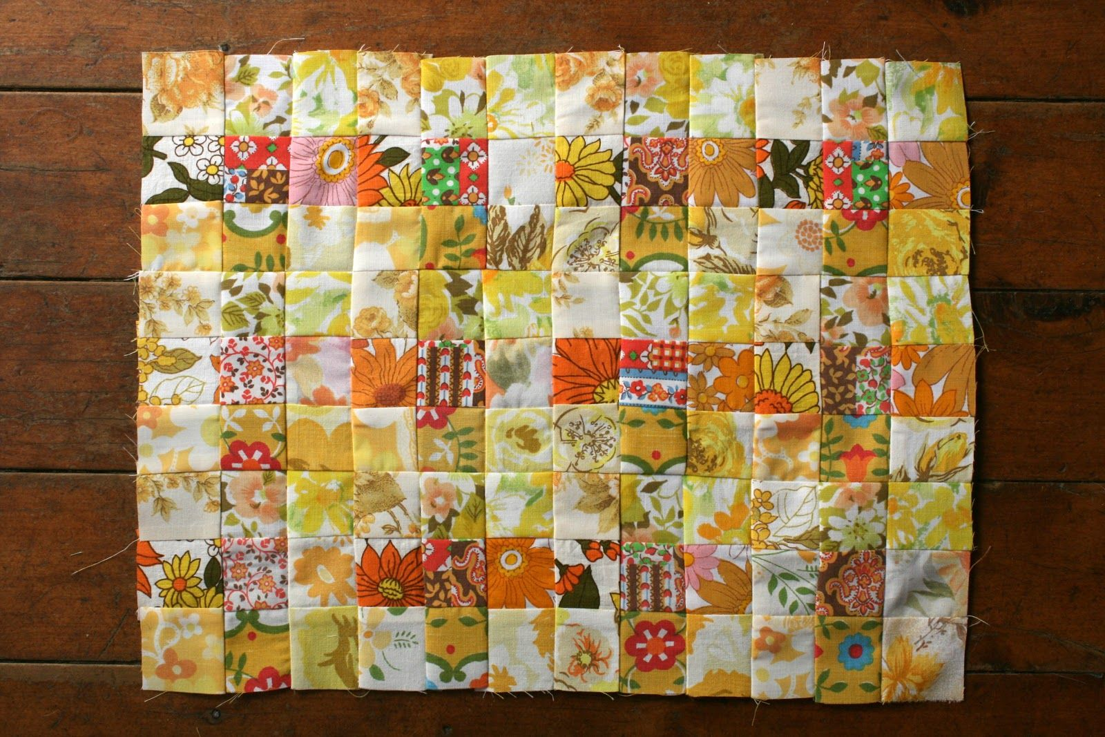 Amelie and Atticus: Yellow Vintage Sheet Quilt Top