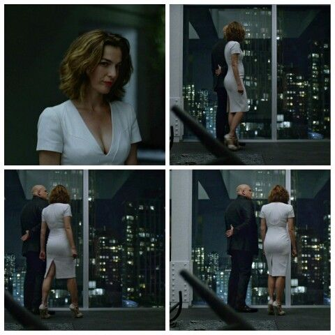 Ayelet Zurer gorgeous in a white curve hugging dress and high heels on Daredevil