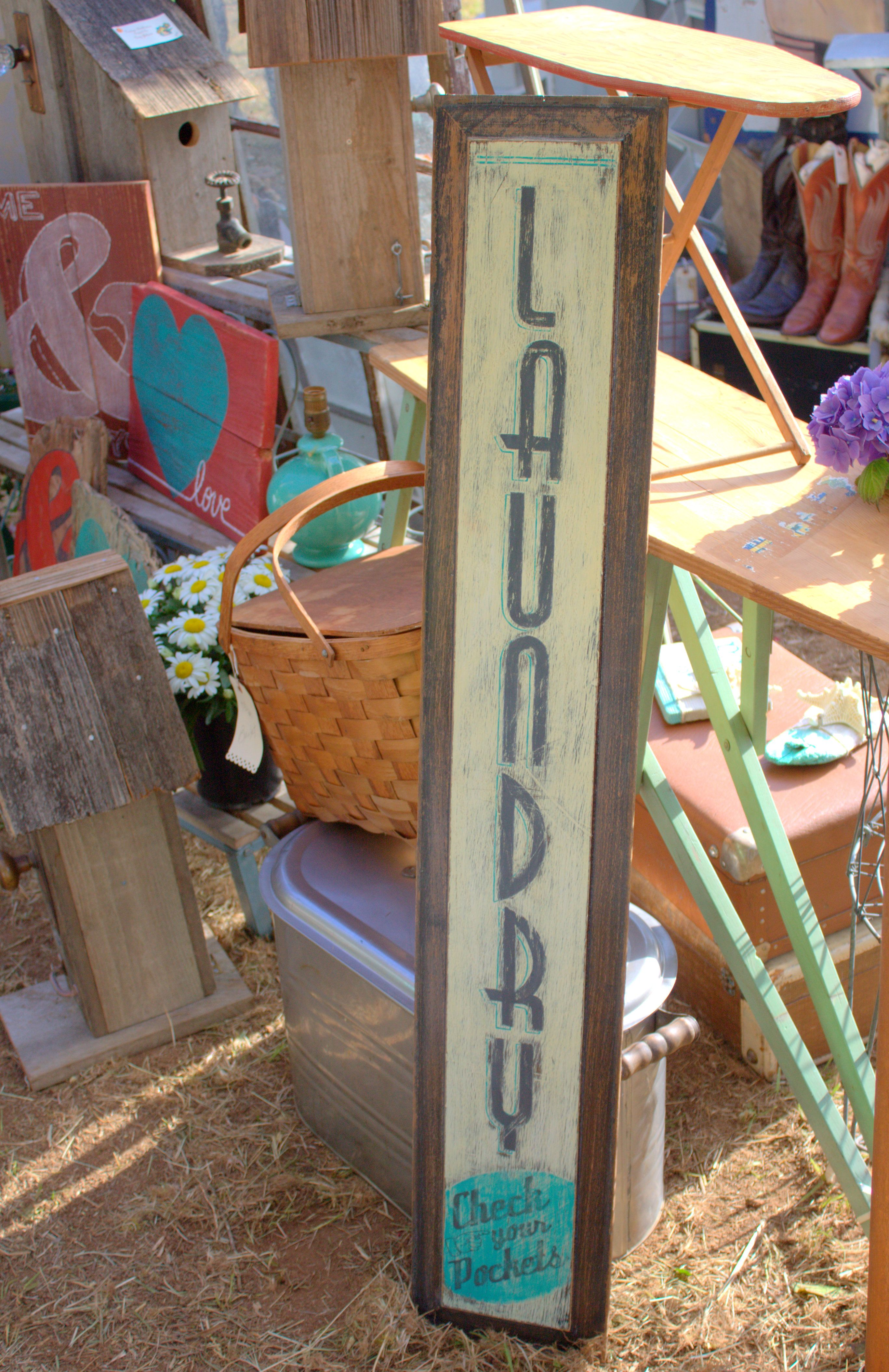 Hand-painted Laundry Sign On Vintage Door Panel Using Old