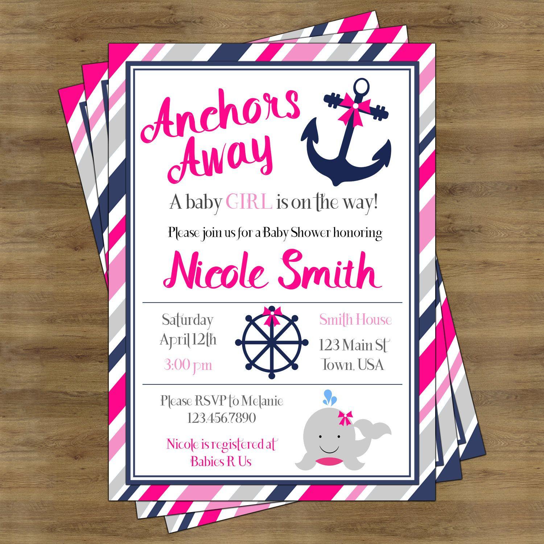 Nautical Baby Shower Invitation Girl Printable; Anchors Away Baby ...
