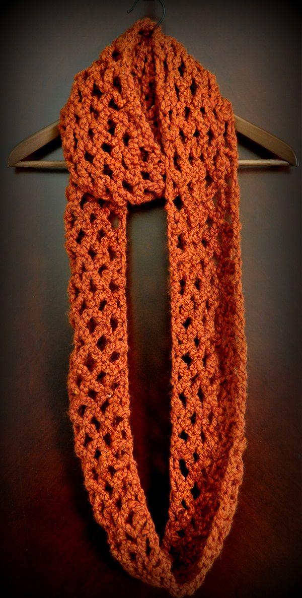 Diamond Lattice Chain Crochet Infinity Scarf | Loop Schal Kragen ...