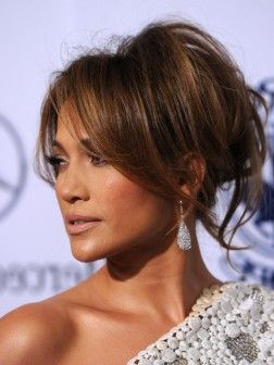 Celebrities Party Hairstyles Jennifer Lopez Hair Hair Styles Messy Hair Updo