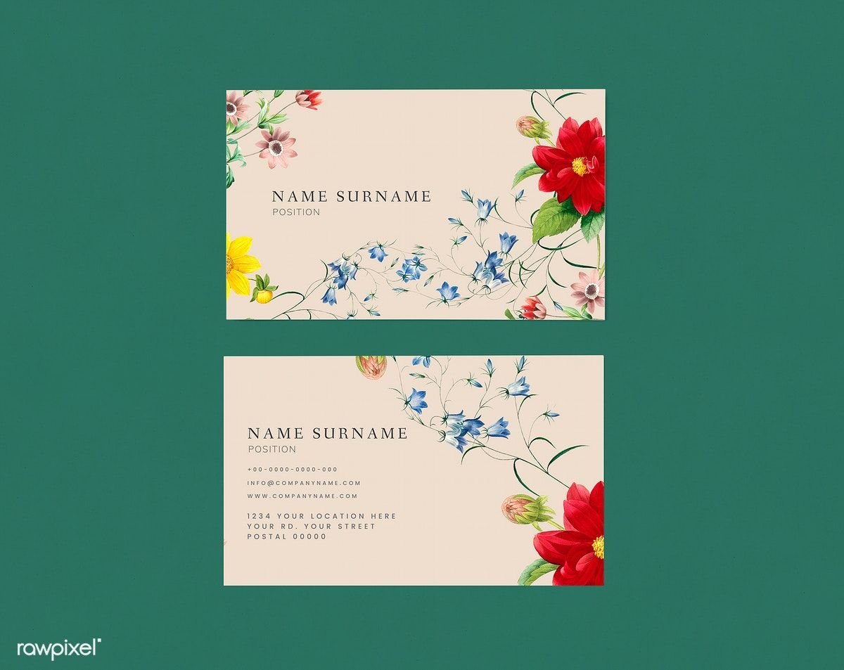 Download Premium Illustration Of Floral Business Card Template Mockup Floral Business Cards Red Business Cards Name Card Design