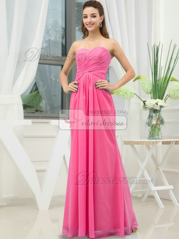 $134.10 Column Chiffon Sweetheart Floor-length Wrap Pleats Hot Pink ...