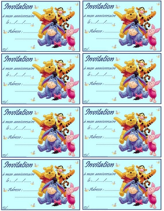 Carte Anniversaire Winnie Lourson.Coloriage Carte Invitation Winnie L Ourson Et Ses Amis