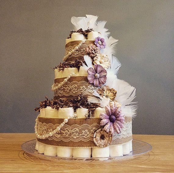 Beautiful Shabby Chic Three Tier Diaper Cake By