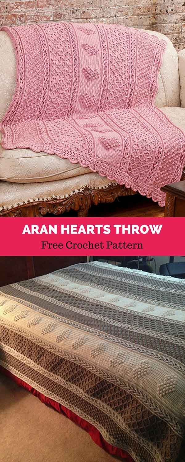 Aran Hearts Throw [ FREE CROCHET PATTERN | Afghan Crochet Patterns ...