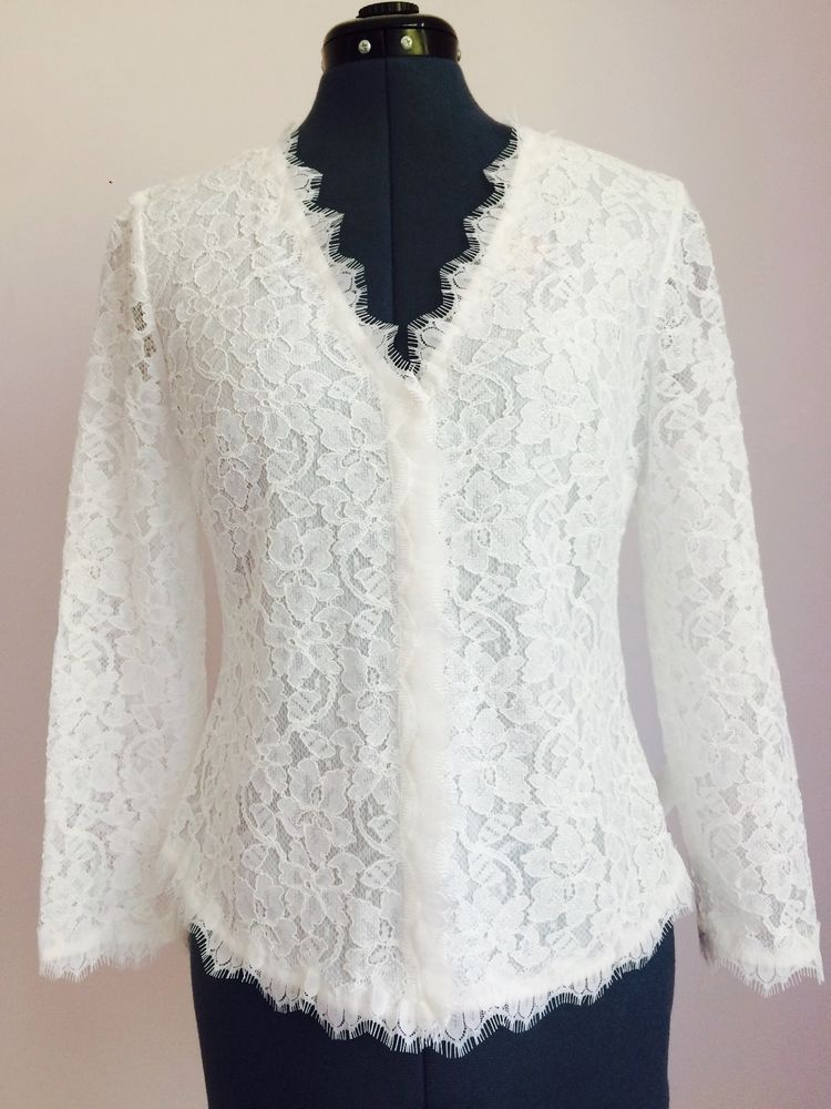Details about DIANE VON FURSTENBERG Bria White Lace Cardigan Top ...