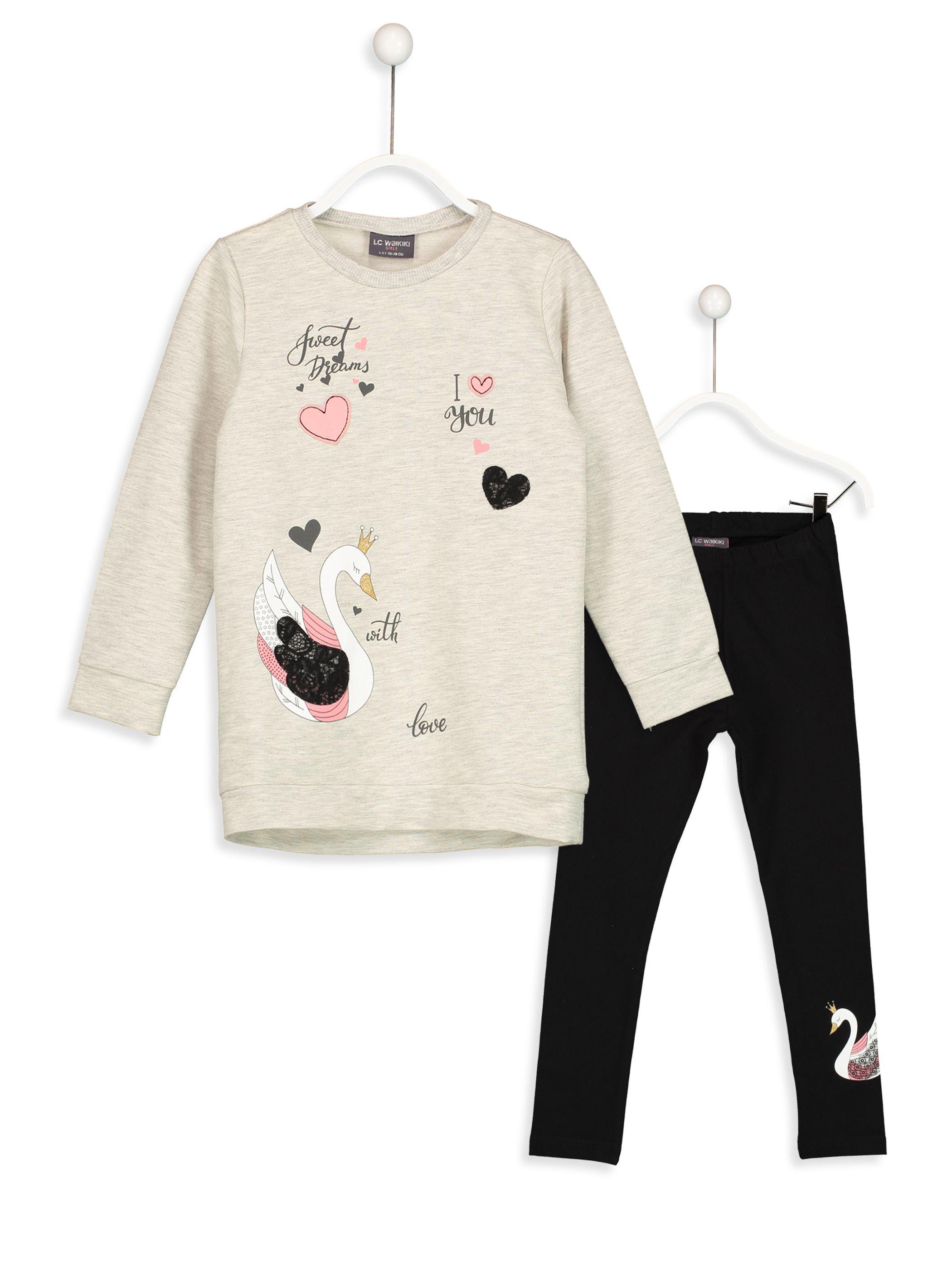 12649c169f81a Kuğu Baskılı Sweatshirt ve Tayt -8S4254Z4-355 - LC Waikiki Erkek Çocuk  Modası,