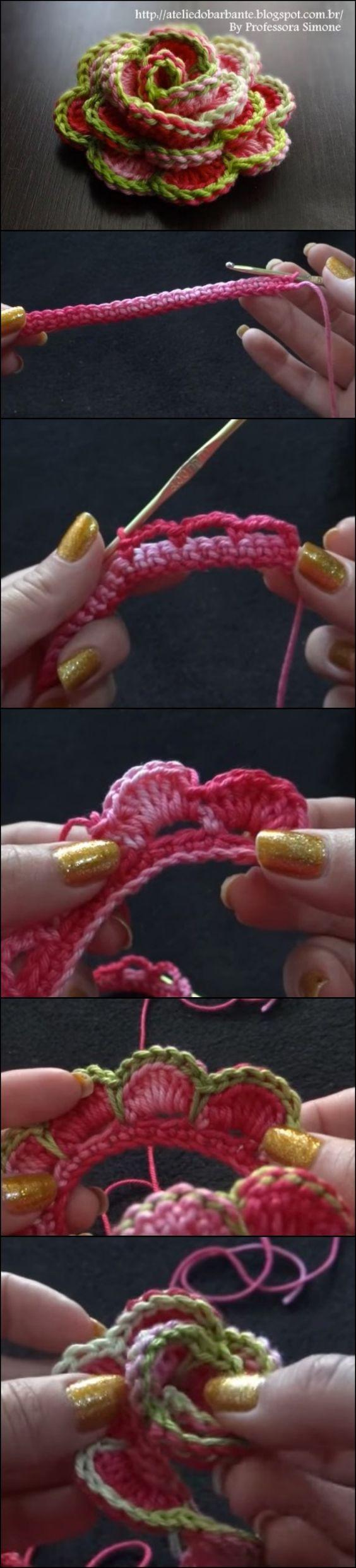3D Crochet Roses Video Tutorial   Pinterest   Häkeln, Blumen häkeln ...