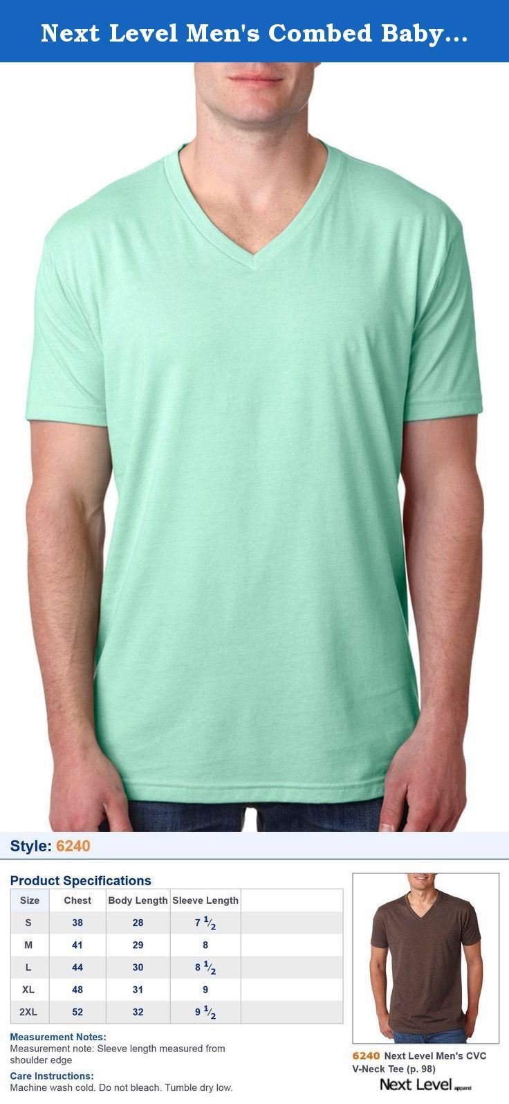 95b891b759d Next Level Men's Combed Baby Rib Knit V-Neck T-Shirt, Mint, Medium ...