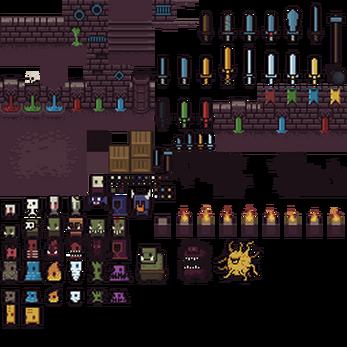16x16 Dungeon Tileset by 0x72 Dungeon, Pixel art, Game art