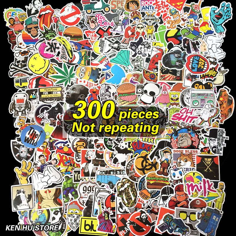 300 Pcs Not Repeating Waterproof Stickers For Home Decor Travel Suitcase Wall Bike Fridge Sliding Plate