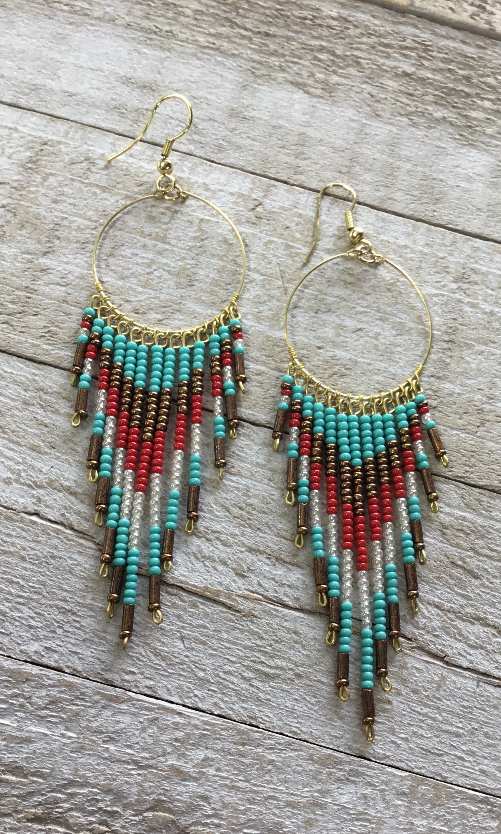 Red Turquoise Seed Bead Earrings Beaded