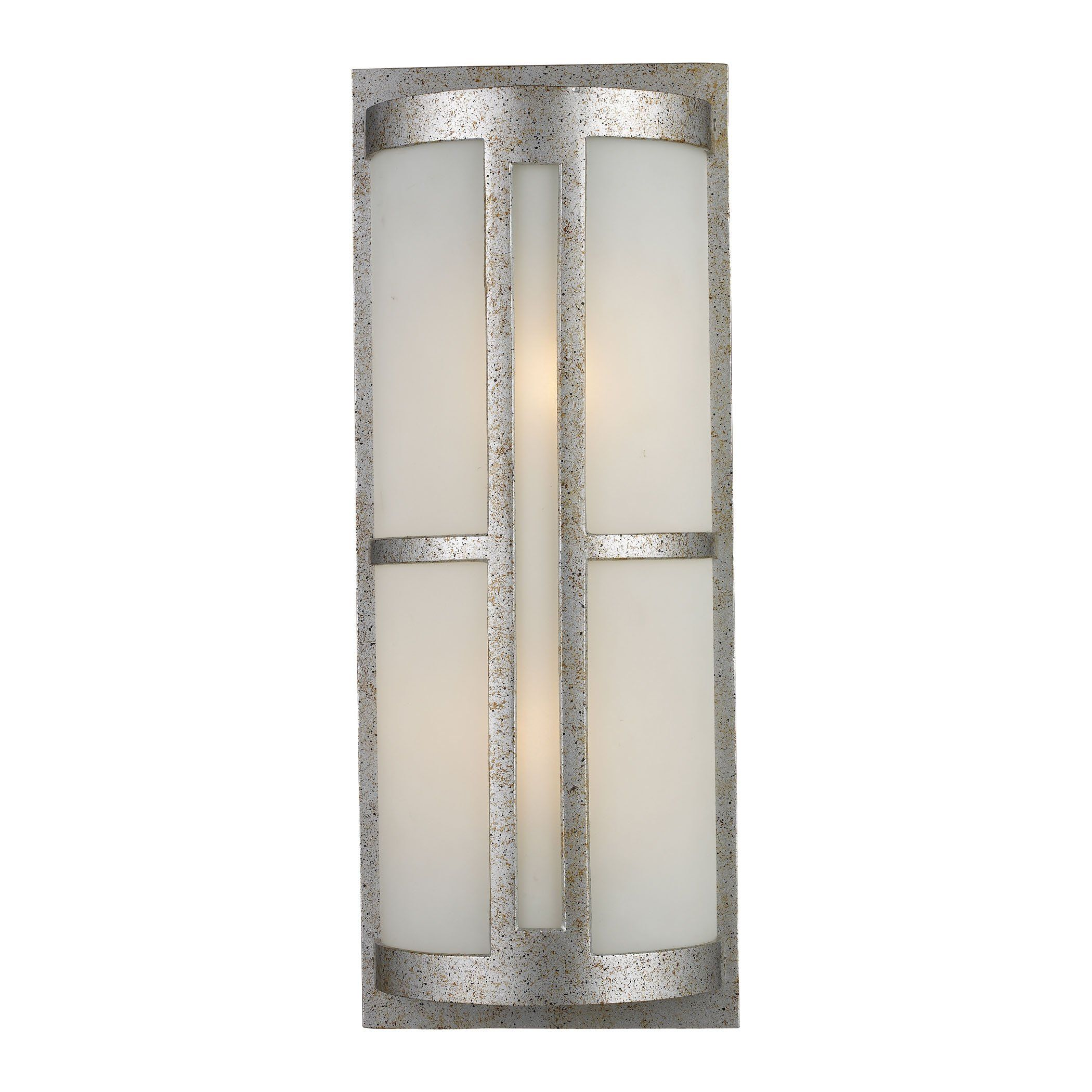 Trevot light outdoor wall sconce in sunset silver and frosted