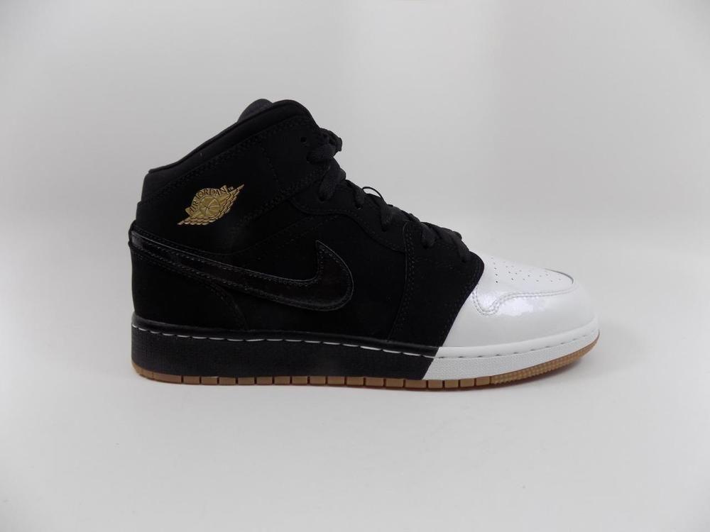 best sneakers 77ce9 a76f4 Nike Air Jordan 1 Mid GG Black Gold White Lot 555112 021 Grade School Size  8.5 (eBay Link)