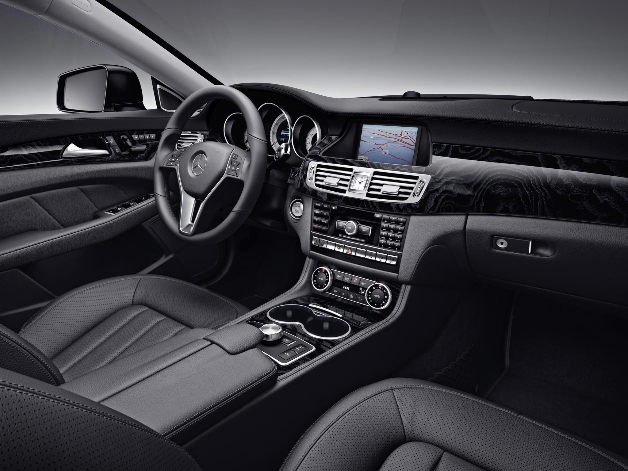 mercedes benz cls550 interior shown with black leather and. Black Bedroom Furniture Sets. Home Design Ideas