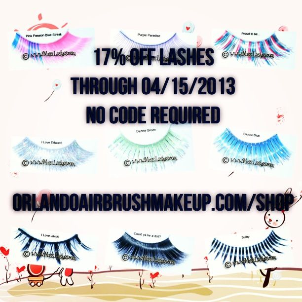 http://www.OrlandoAirbrushMakeup.com/shop  Special: 17% off lashes through 04/15/2013. No code required.