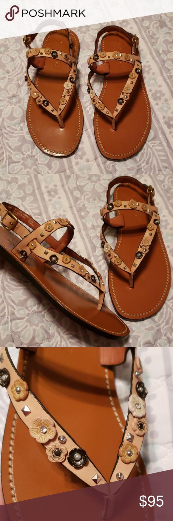 a15337458c NEW COACH Natural Hudson Tea Rose thong sandal Coach leather sandal ...