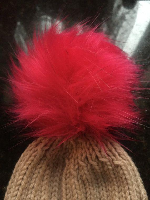Beige knit hat with fur Pom Pom by KnitSew4U on Etsy