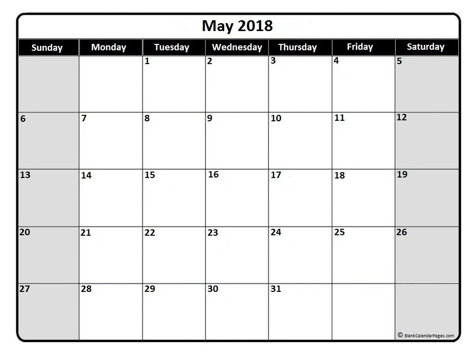 May 2018 Monthly Calendar Printable Printable Calendars