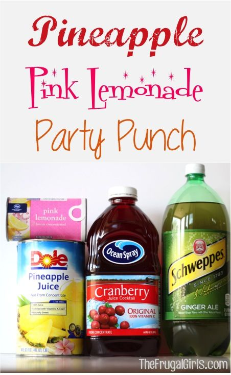 Pineapple pink lemonade party punch from thefrugalgirls pineapple pink lemonade party punch recipe perfect for any party baby or wedding shower if you want to make it adult add some coconut rum junglespirit Image collections