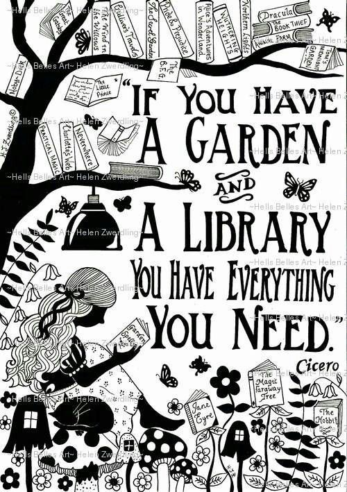 Garden Library ~ Cicero quote ~ a personalised and enhanced, high quality A4 framed print of an original artwork by Helen Zwerdling.