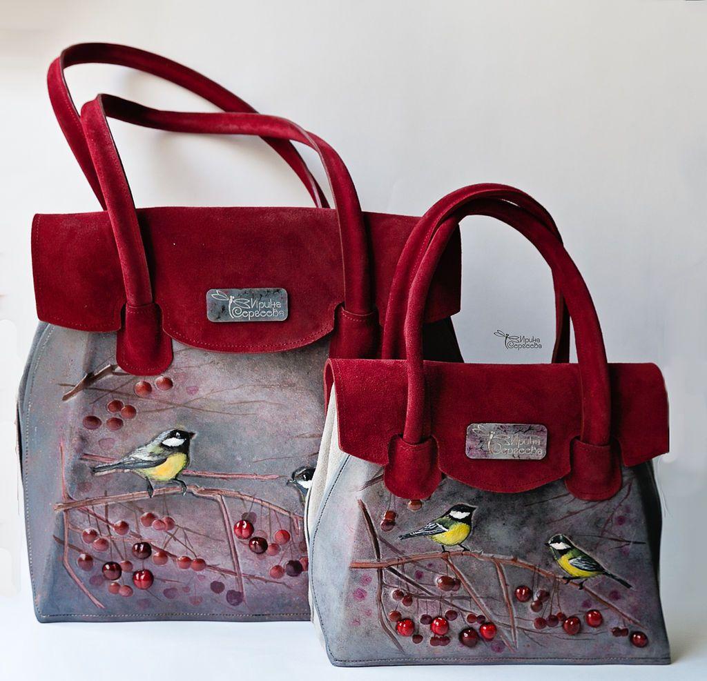 """Купить Кожаная сумка """"Синички"""" - бордовый, рисунок, выпускной 2015, сумка, Кожаная сумка"""