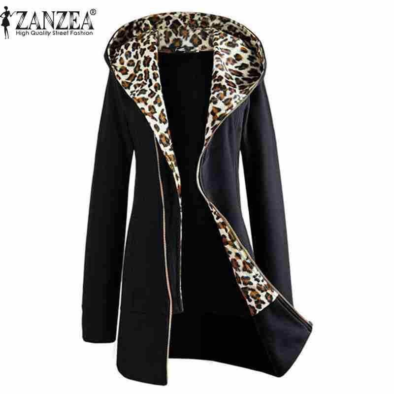 ZANZEA 2017 Autunno Inverno Moda Donna Leopard Zipper Up Con Cappuccio del Rivestimento del Cappotto Manica Lunga Outwear Felpe Più Il Formato M-XXL
