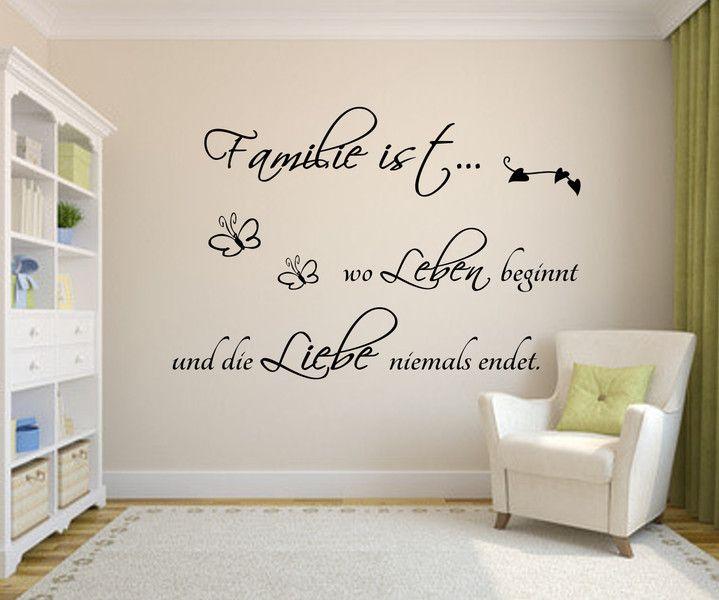 Wandtattoo Spruch  Familie wo Leben Liebe Wandsticker Sticker Wandaufkleber 6