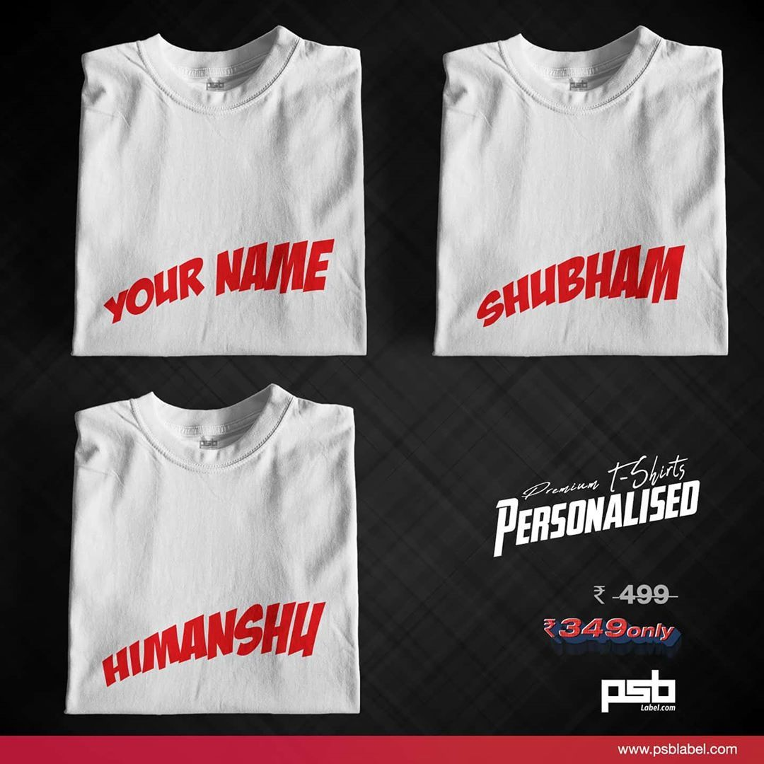 Look trendy with personalised Style!! Get Your Name or Text printed on premium cotton T-shirts with this super text...Look trendy with personalised Style!! Get Your Name or Text printed on premium cotton T-shirts with this super text designs | Shop Now ( link in the bio)  .  .  .  .  Delivering all over India!  .  .  .  .  .  .  .  .  .  #tshirt #fashion #mentshirt #mensfashion #womenfashion #design #personalised #customized #yourname #clothing #art #trend #shopnow #tshirtdesign #creative #impre
