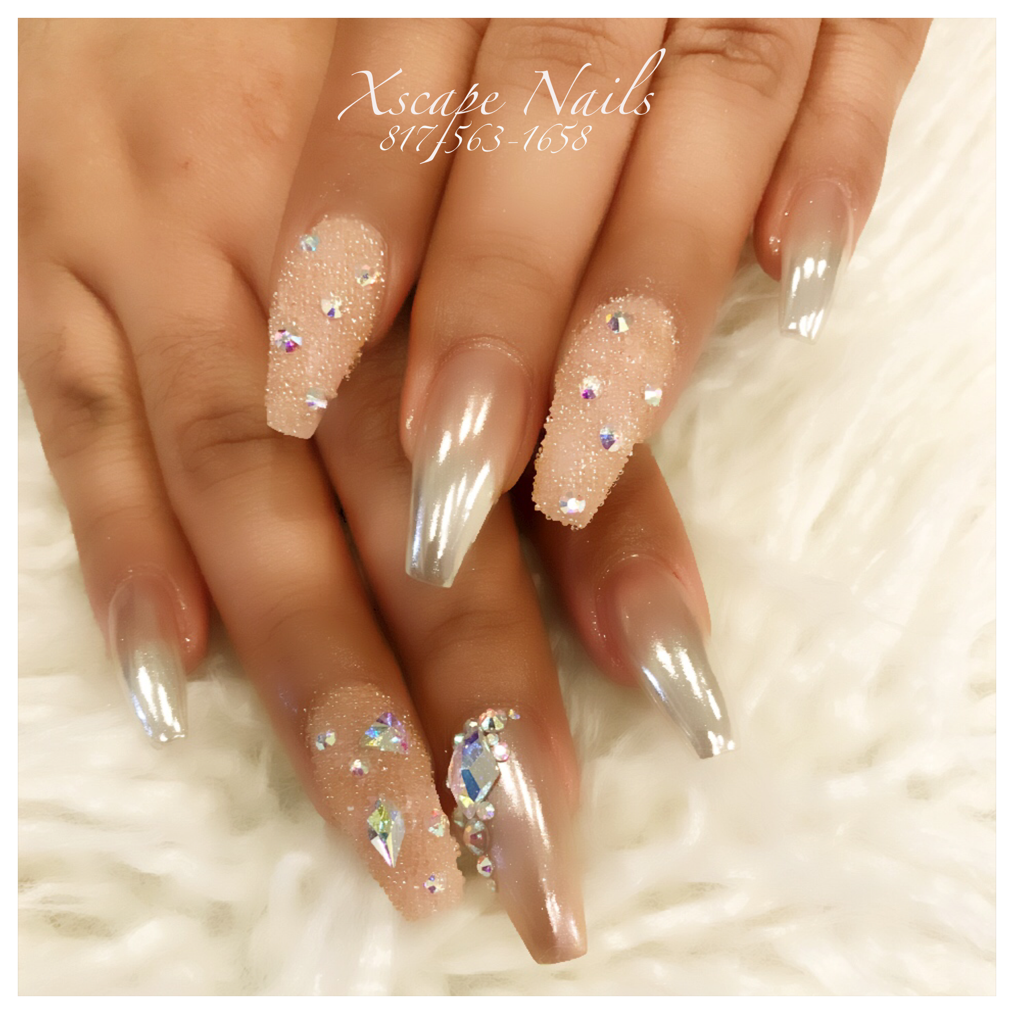Rose Gold Crystal Pixie Nails Chrome
