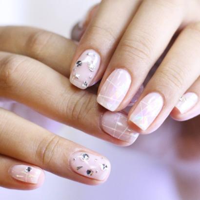 glittery korean nail arts