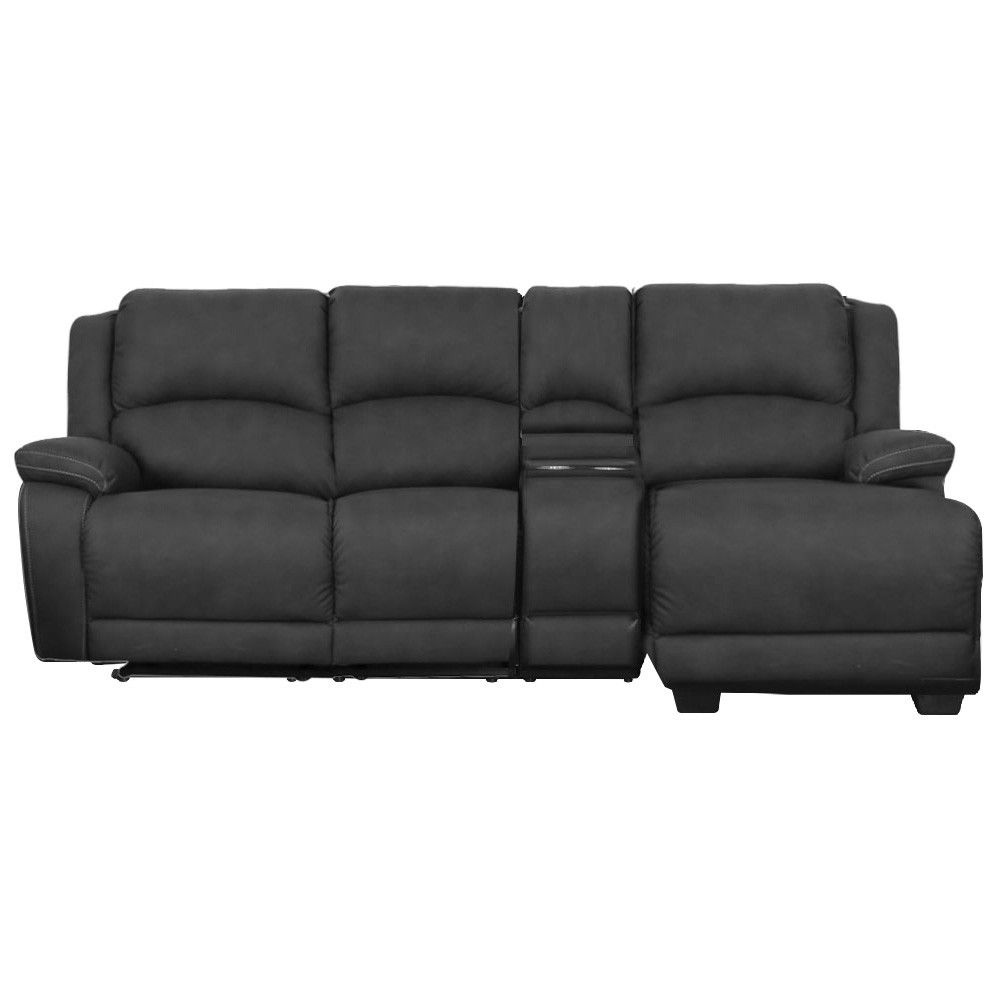 Turin 2 Seater Rhino Fabric Corner Sofa With Recliners Right Hand Facing Chaise Licorice Recliner Corner Sofa Corner Sofa Chaise