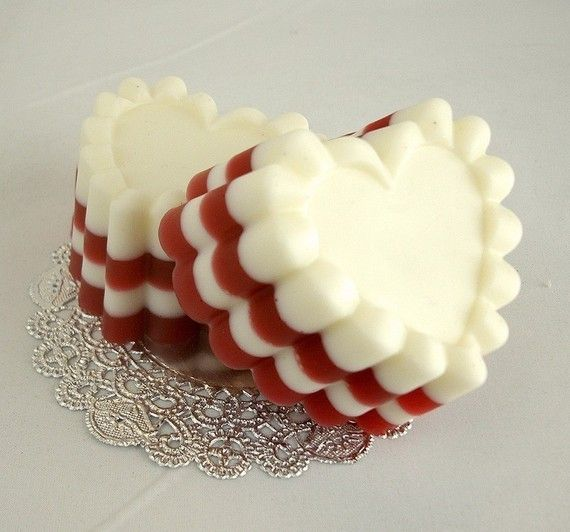 Like the layers in a mold soap - Red Velvet Cake Heart  Goat's Milk Soap Bar by soapopotamus
