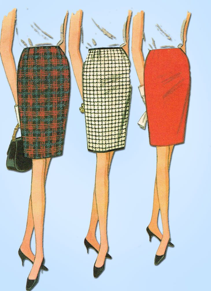 1960s Vintage McCalls Sewing Pattern 8467 Easy Misses Pencil Skirt Pattern 25W