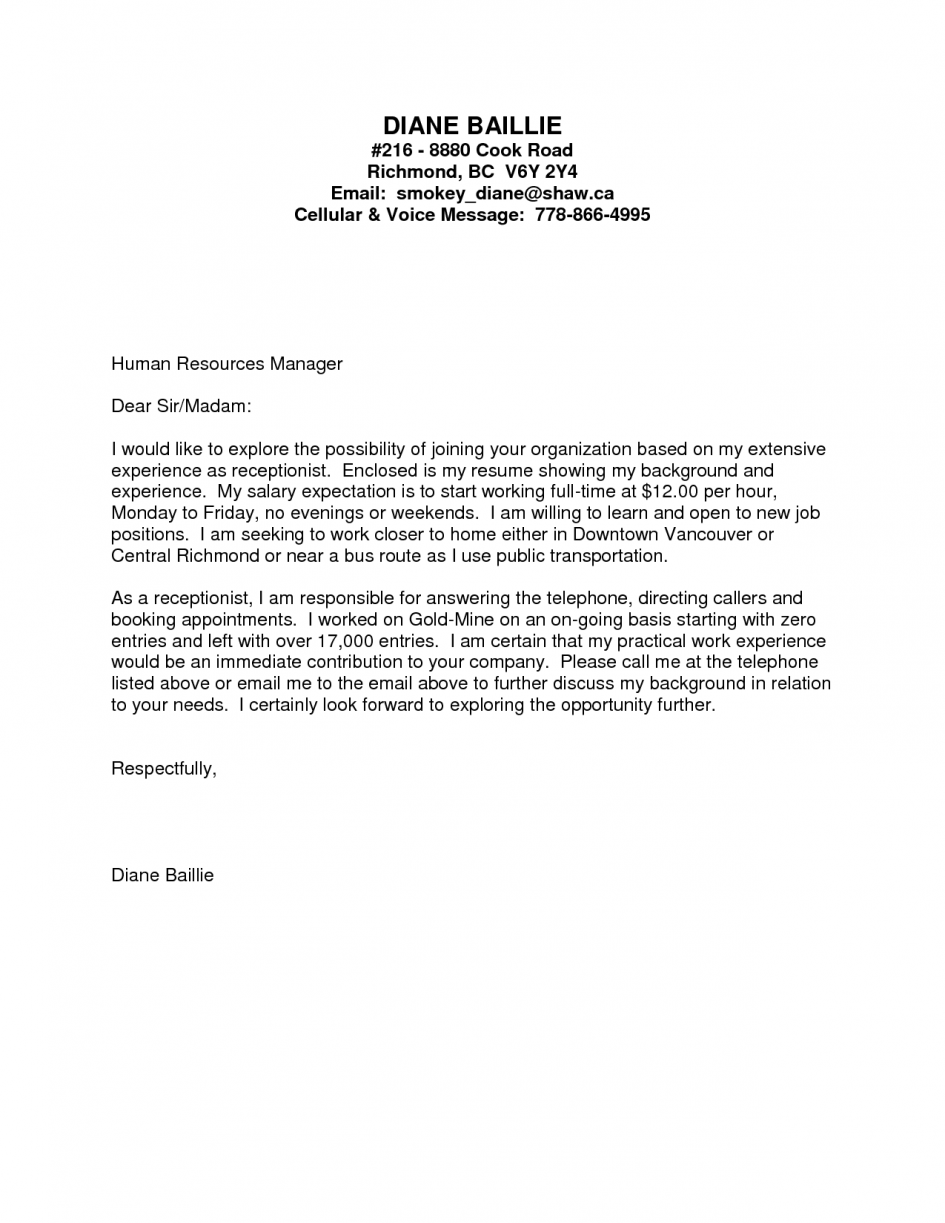 Application Letter For Job Without Experience Cover Medical Office